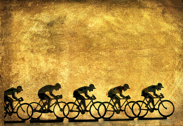 Bike Rider Photograph - Illustration Of Cyclists by Bernard Jaubert