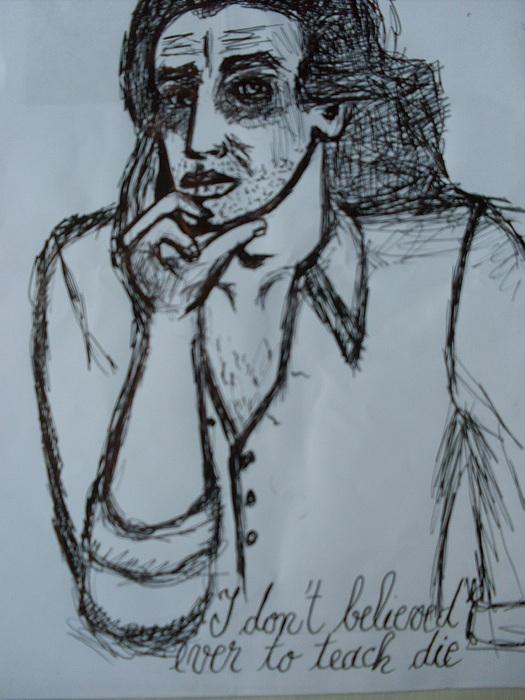 Portrait Drawing - Illustration Of Eminescu by Elena Buftea