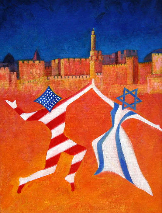 America Painting - Israel And Usa Dancing by Jane  Simonson
