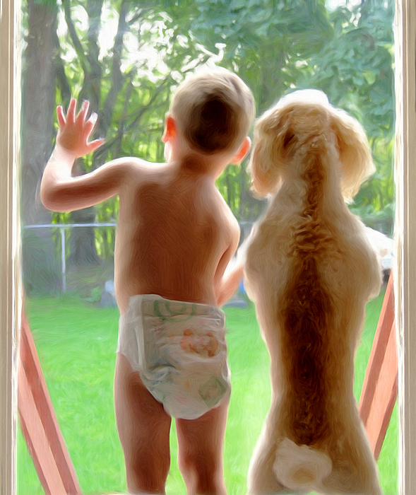 Boy And Dog Painting - Jack And Buddy by Russell Michael