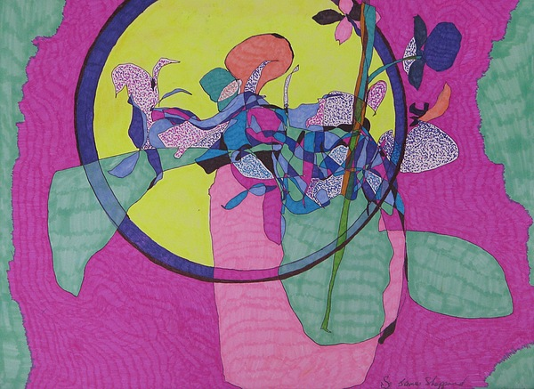 Abstract Moon Mixed Media - Japanese Window by James Sheppardiii