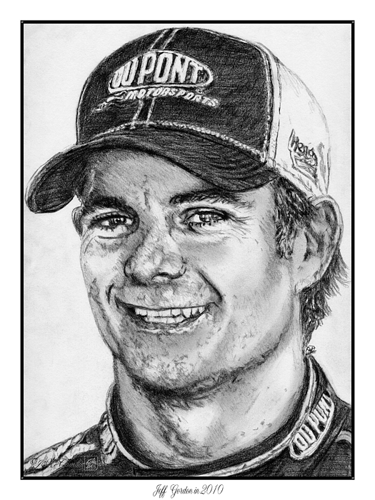 Jeff Gordon Drawing - Jeff Gordon In 2010 by J McCombie