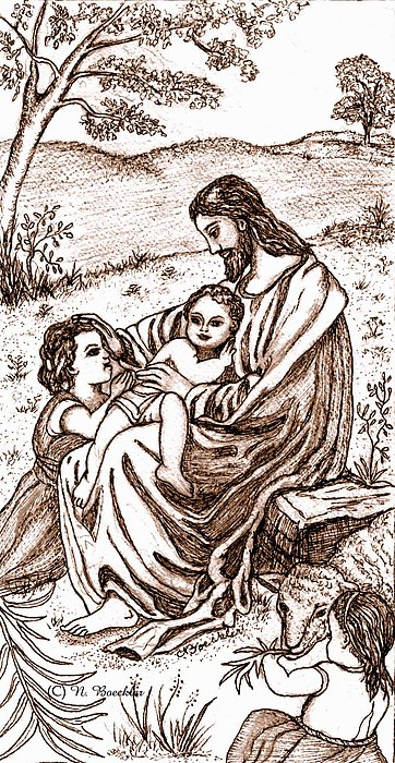 Sepia Drawing Drawing - Jesus And The Children by Norma Boeckler