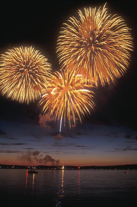 Lake Champlain Photograph - Lake Champlain Fireworks by John Burk