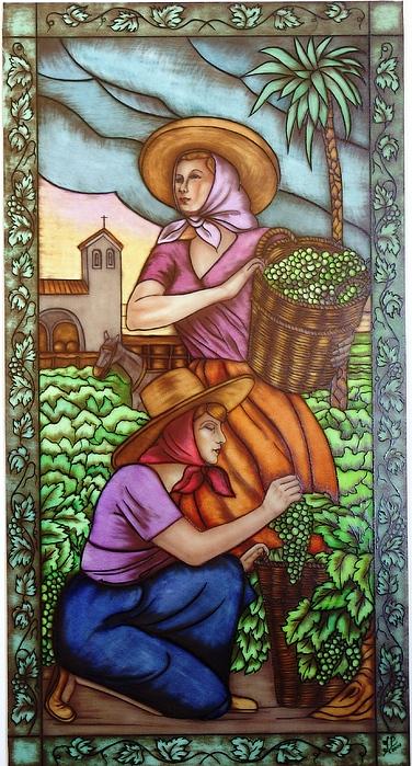 Las Vendimiadoras 1 Glass Art by Justyna Pastuszka