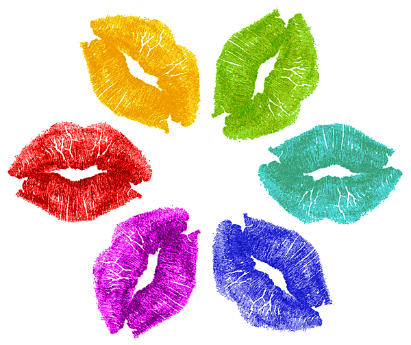 Lips Photograph - Lipstick Kisses In Color by Blink Images