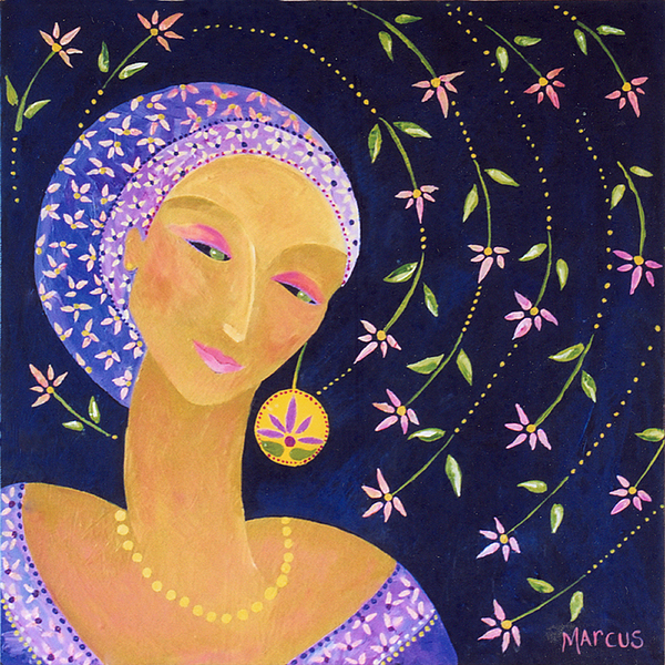 Lotus Lady 2 Painting by Leslie Marcus