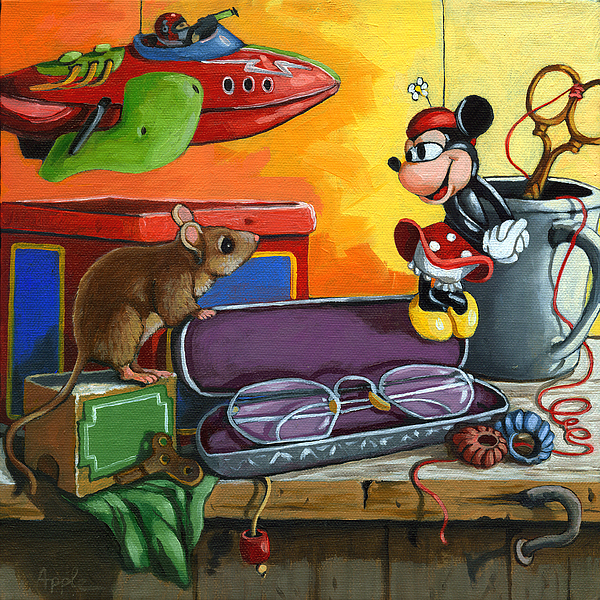 Mouse Painting - Love In The Attic -still Life Painting by Linda Apple