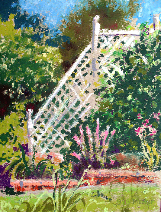 Oil Pastel Painting - Lythrum And Ivy by Bill Meeker