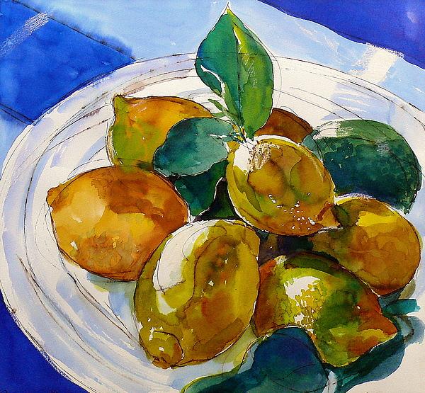 Watercolour Painting - Maltese Lemons by Doranne Alden