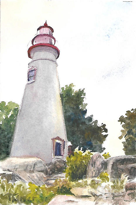 Marblehead Lighthouse Painting by Terri  Meyer