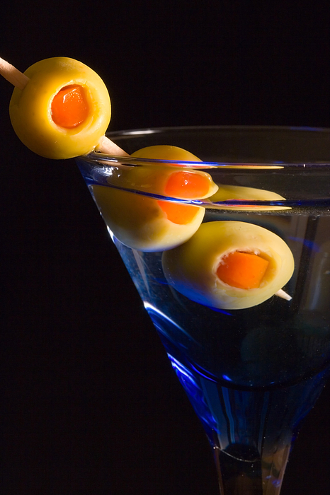 Drink Photograph - Martini Cocktail With Olives In A Blue Glass by ELITE IMAGE photography By Chad McDermott