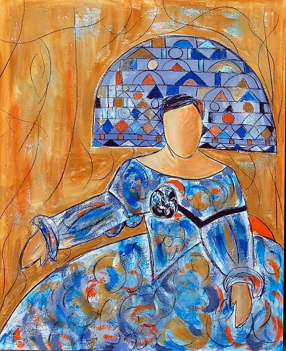 Menina Painting - menina ocre y azul II by Soledad  Fernandez