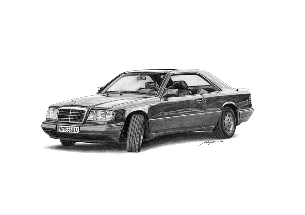 Mercedes Drawing - Mercedes-benz E-class Coupe by Gabor Vida