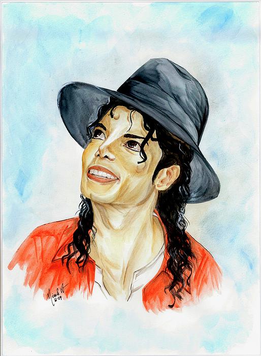 Michael Jackson Painting - Michael Jackson - Keep The Faith by Nicole Wang