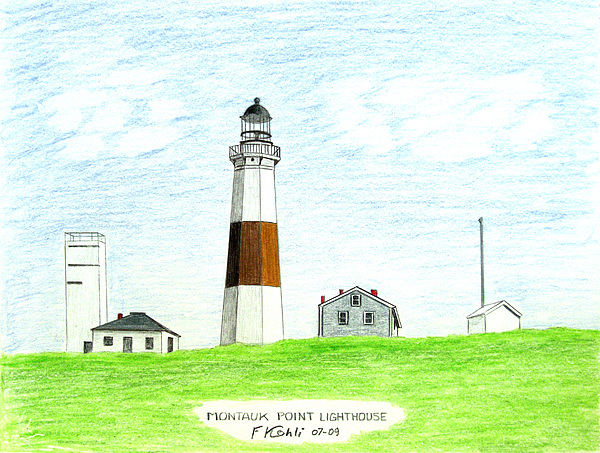 Lighthouse Drawings Drawing - Montauk Point Lighthouse by Frederic Kohli