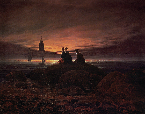 Moon Painting - Moon Rising Over The Sea by Caspar David Friedrich