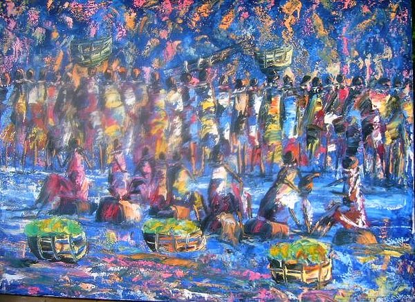 Cultural Painting - Moonlight Market Scene by Joseph Muchina