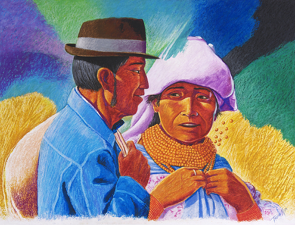 Equador Painting - Natives Otavalo by Tarquino Mejia