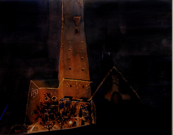 Night Scene Painting - Night Dome by Jan Rapp