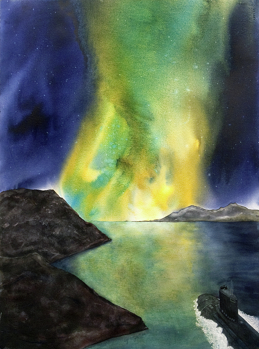 Submarine Painting   Northern Lights By Lizbeth Maxson McGee