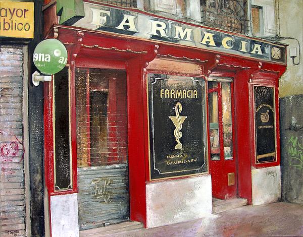 Farmacia Painting - Old Pharmacy by Tomas Castano
