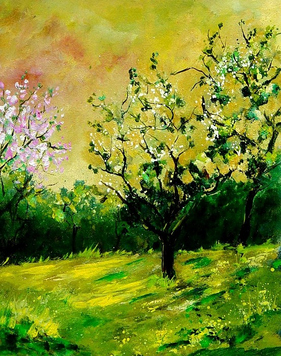 Landscape Painting - Orchard by Pol Ledent