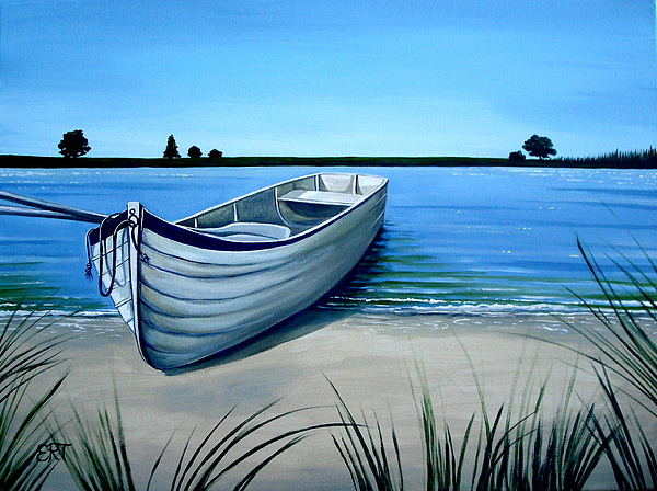 Landscape Painting - Out On The Water by Elizabeth Robinette Tyndall