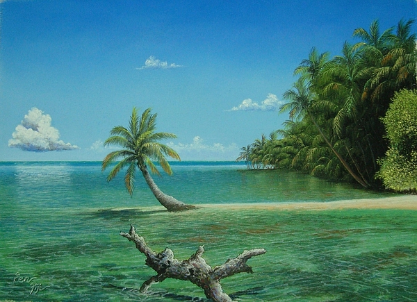 Landscape Painting - Palms Of Fiji by Pravin Sen