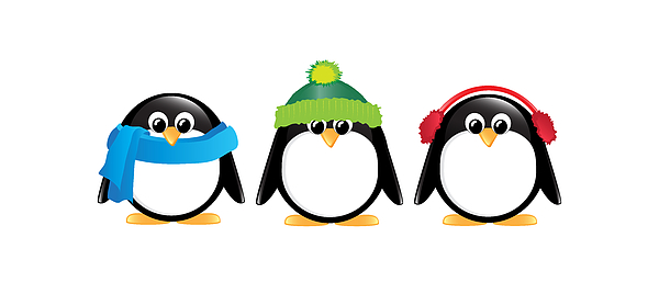 Adorable Digital Art - Penguins Isolated by Jane Rix