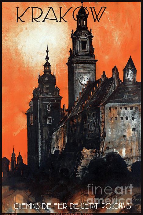 Travel Mixed Media - Poland Krakow Vintage Travel Poster Restored by Carsten Reisinger