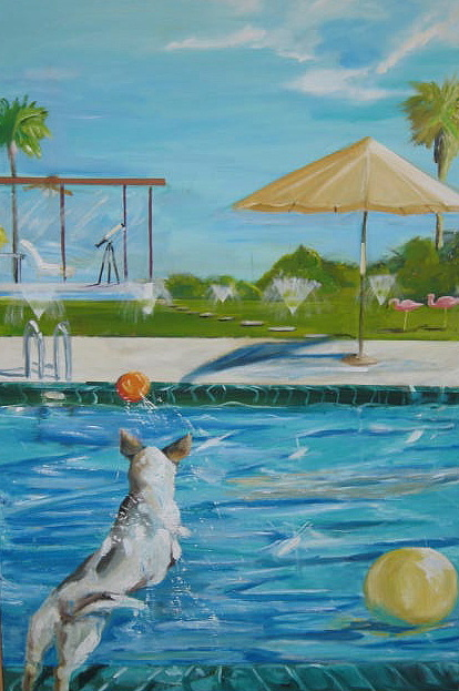 Large Scale Landscape   Painting - Pool Party II by Terrence  Howell