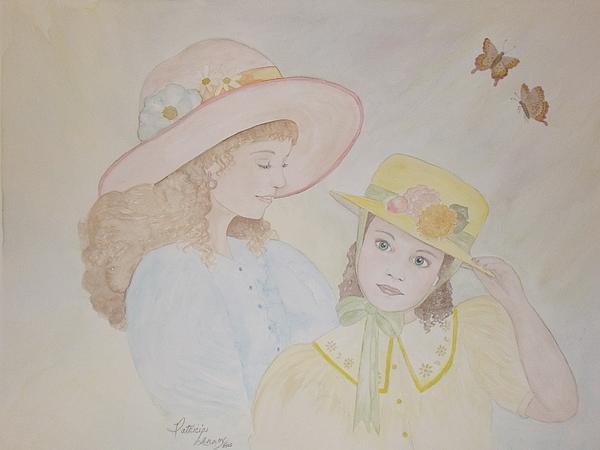 Girls Painting - Prairie Sun Hats by Patti Lennox