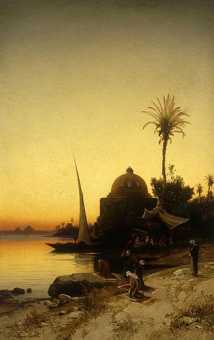 Prayers Painting - Praying To Mecca by Herman David Salomon Corrodi