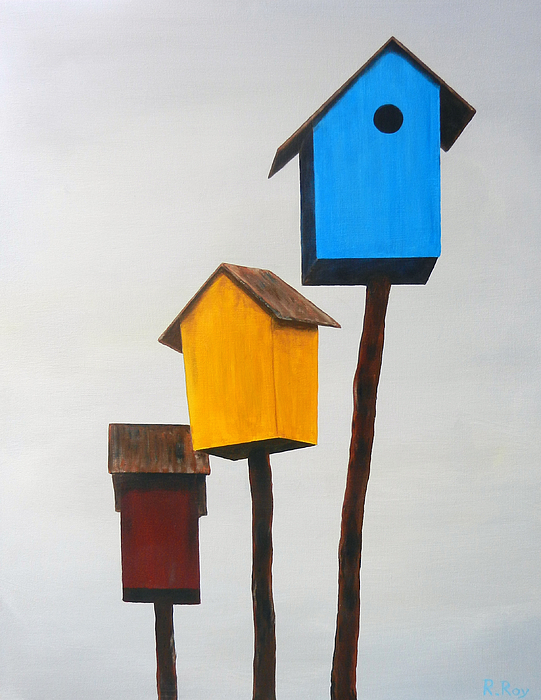 Birdhouse Painting - Primary Residence by Robert Roy