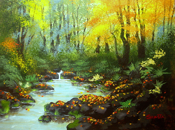 Landscape Painting - Quiet  Time And  Place by Shasta Eone