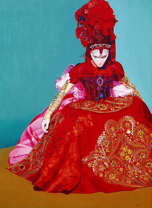 Woman Painting - Red Dress by Vlasta Smola
