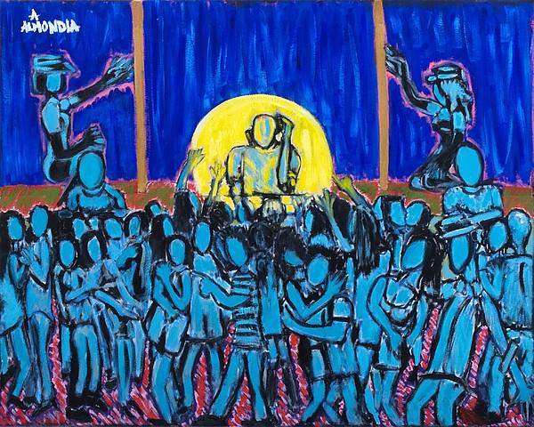 Dancing Painting - Rhythm Blue by Albert Almondia