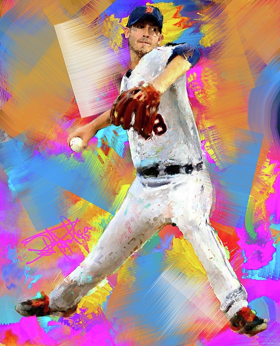 Baseball Painting - Rick Porcello by Donald Pavlica