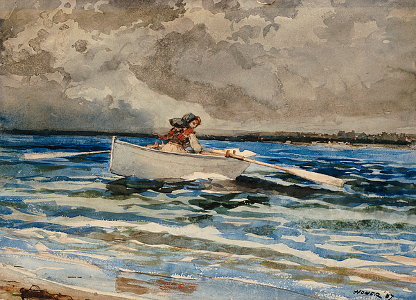 Row Painting - Rowing At Prouts Neck by Winslow Homer
