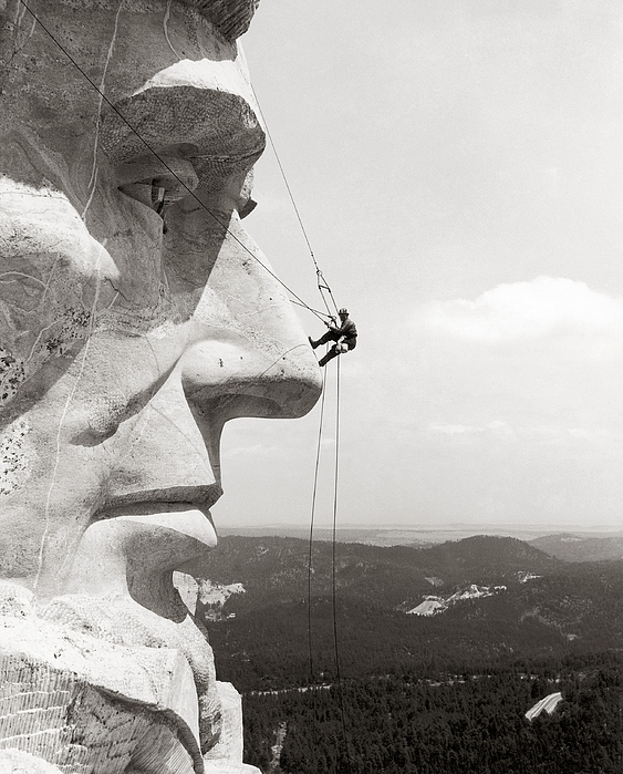 1937 Photograph - Scaling Mount Rushmore by Granger