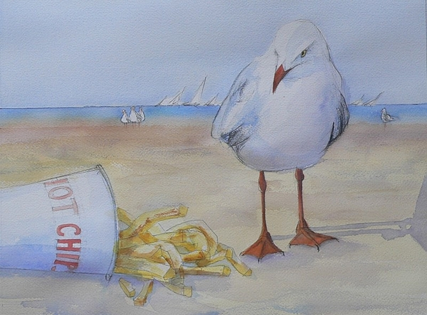 Seagull Painting - Seagull And Hot Chips by Tony Northover