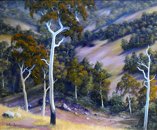 Gumtrees Painting - Sloping Hills by John Cocoris