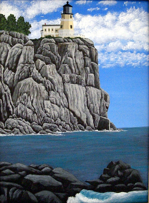 Landscape Paintings Painting   Split Rock Lighthouse By Frederic Kohli