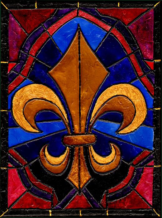 Fleur De Lis Painting - Stained Glass Fleur De Lis by Elaine Hodges