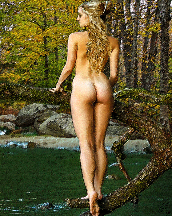 Nude Digital Art - Standing On A Branch by Jessica B