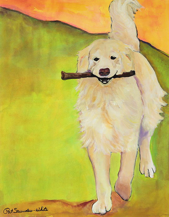 Dog Portraits Painting - Stick Together by Pat Saunders-White