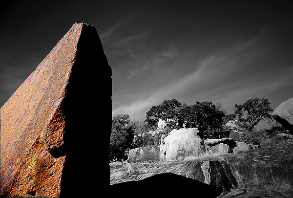 Landscapes Photograph - Straight Edge Boulder Enchanted Rock Texas by Tom Fant