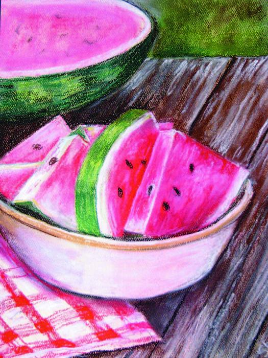 Watermelon Painting - Summertime by Sherlyn Andersen