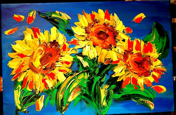 Red Poppies Painting - Sunflowers by Mark Kazav